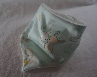 Bib anti bavouille pastel Bunny patterned cotton