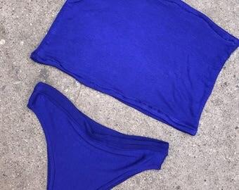 blue High cut bandeau bikini set, bikini, sexy bikini, beachwear, brazilian bikini bottoms, swimwear, festival bikini set, bandeau top
