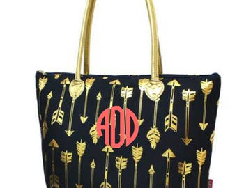 Monogram Navy and Gold Arrow Tote