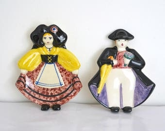 Tidy in earthenware, characters from Alsace, France