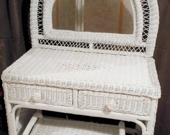 Vintage white rattan dressing