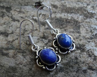 Natural Blue Lapis Lazuli 925 Sterling silver Dangle Earrings - Sterling Silver Earrings - Natural Stone Earrings - Lapis Earrings