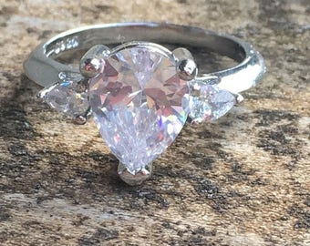 Sale White Topaz 925 Solid Genuine Sterling Silver Ring Size 7 - Engagement Ring Wedding Ring Genuine White Topaz Natural Stone ring size 7