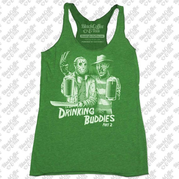 St Patricks Day Shirt - Women's Freddy Krueger and Jason Shirt- Friday The 13th Shirt- Womens Funny St Pattys Day Green Tank Top -Beer Shirt