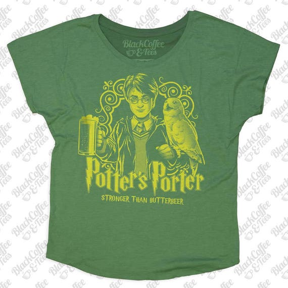 St Patricks Day Shirt -Womens Harry Potter Shirt -Craft Beer Shirt- Perfect St Patricks Day Shirt -Harry Potters Porter -Womens Green Dolman