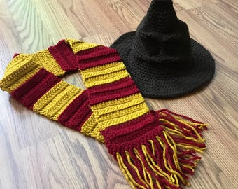 Harry Potter sorting hat and scarf, Harry Potter photo prop, Harry Potter hat and scarf, Harry Potter scarf, Harry Potter costume