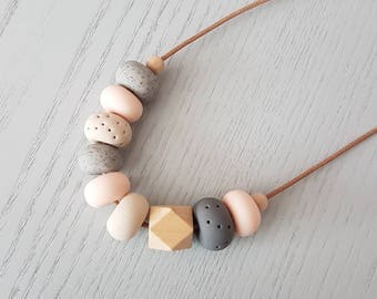 Polymer clay necklace/ Pink tan and granite clay beaded necklace/ polymer clay jewellery/ beaded necklace /  birthday gift/ pink and grey