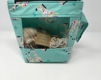 Knitting and Crochet Project Bag - Peekaboo - turquoise zebra