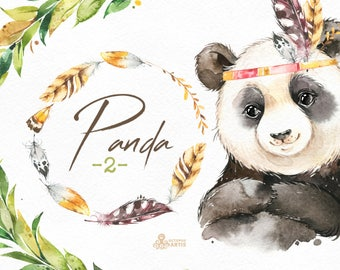 Panda 2. Watercolor little animal clipart, feather, boho, floral wreath, forest, baby, leaves, china, nursery art, nature, realistic, cute
