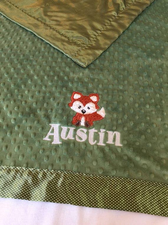Fox baby blanket, silky blanket, woodland blanket, personalized baby blanket, crib blanket, baby shower, peacefuldreams, baby gift