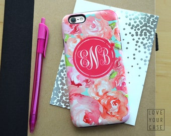 1475 // Pink Floral Initials Monogram Phone Case Lilly Pulitzer Inspired iPhone 5/5S, 6/6S, 6+/6S+ Samsung Galaxy S5, S6, S6 Edge Plus, S7