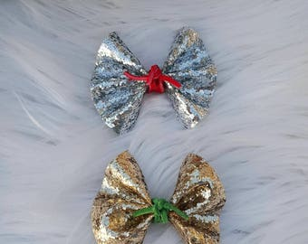 Mini Faux Leather Glitter Flutter Bow ~ Nylon Headband ~ Girls ~ Headbands ~ One Size ~ Photo Prop ~ Newborn ~ Infant ~ Toddler ~ Baby ~