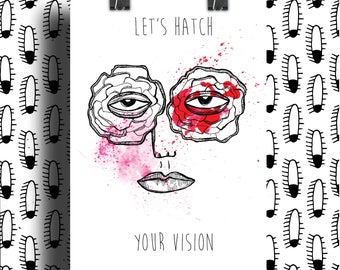 Poster graphic print / let's hatch your vision / graphic illustration