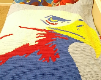 Toddler size eagle crochet Afghan blanket handmade lap size Americana
