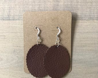Brown Leather Scallop Edged Oval Earrings
