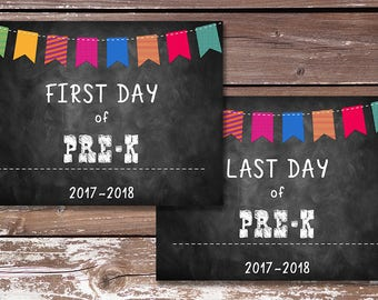 First Day of Pre-K Sign/Last Day of Pre-K Sign-PRINTABLE - First Day of School, Photo Prop, Chalkboard Sign - Instant Download
