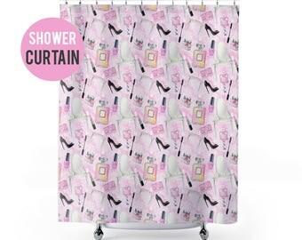 Shower Curtain Feminine Makeup and Fashion Pattern Shower Curtain
