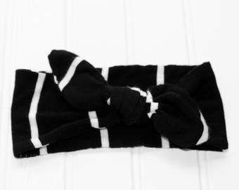 Black & White Vertical Stripe Knot Headband