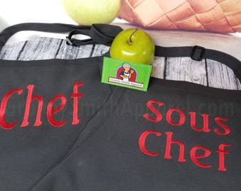 "Chef and Sous Chef Embroidered Couple's Gift Mr & Mrs Apron Set. Customized 24""L x 28""W professional 3 pocket full bib. His can be longer!!!"