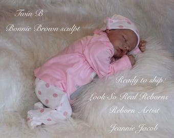 Reborn baby , Twin B  sculpt by Bonnie Brown , COA ,ready to ship.