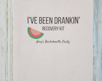 10 Bachelorette Party Favor, Hangover Kit, Survival Kit, Recovery Kit, Emergency Kit, Bachelorette Party - I've Been Drankin' Watermelon