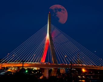 Boston Art Download , Zakim Bridge download, Boston Prints,  Boston Photography, Red Moon