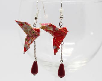 Red and gold Dove earrings Origami Japanese paper