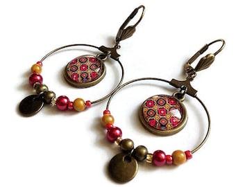 Creoles * bordeaux pink wax - golden * earrings Bohemian bronze graphic ethnic, glass cabochons