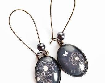 Earrings * dandelion * dandelion flowers white gray Butterfly glass cabochon