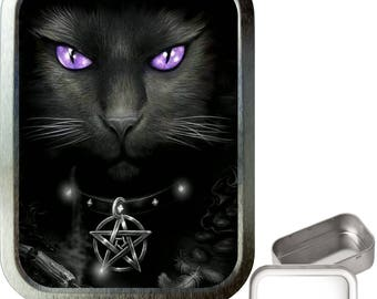 Witches cat 2oz silver tobacco tin,pill box,storage tin,keepsake