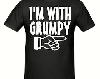 I'm with grumpy t shirt,men's t shirt sizes small- 2xl, Slogan t shirt
