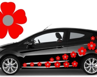 32, Red & silver flower car decals,stickers in three sizes