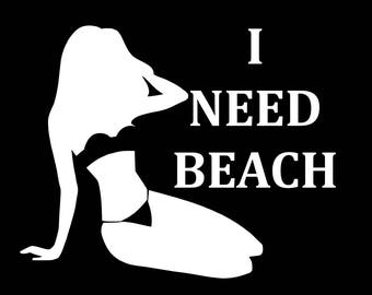 I NEED BEACH Bikini Decals