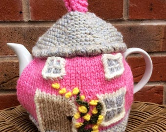 Country Cottage Tea Cosy, Picture Teacosy, cottage teacozy, pink tea cozy, house tea cosy, knitted teacosy, pink cottage tea cosy, country