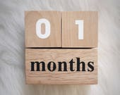 Baby Monthly Milestone Age Wooden Blocks - Baby Shower Gift - Photo Prop - Hand Painted Black and White- Lower Case