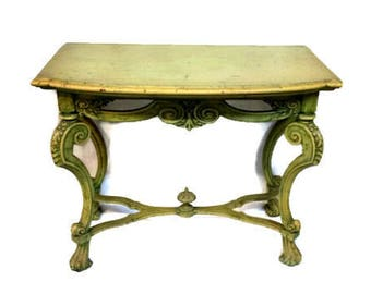Antique French Baroque Painted Console Table