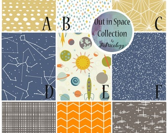 Fabric Sample / Fabric Swatch / Fabric Matching / Out in Space Collection by Fabricology / Baby Boy Nursery