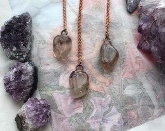 Smokey Quartz Necklace, Smokey Quartz Tumbled Stone, Copper Plated Jewelry, Electroformed Jewelry, Boho Crystal Necklace, Witchy, Pagan