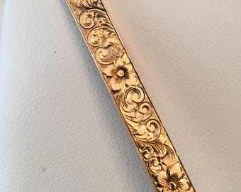 Antique Art Deco 14k yellow gold Hand Etched and Engraved Bar Pin with Flowers and Swirls, Signed L&A