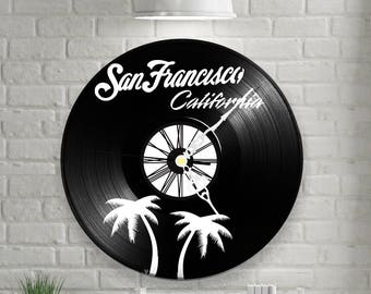 San Francisco California California vinyl wall clock