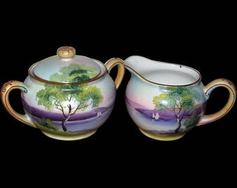 Hand Painted Noritake Cream and Sugar Bowl with Moriage Details
