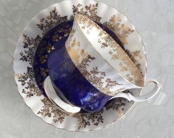 Royal Albert Regal series tea cup and saucer, cobalt blue and gold