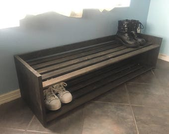 Wood Shoe Rack (shoe rack, entryway furniture, boot rack, shoe storage, wood storage furniture)
