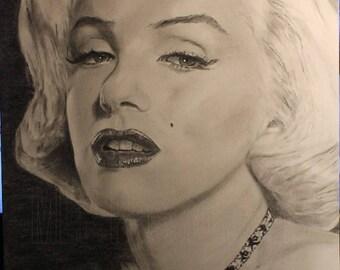 Portrait of Marilyn Monroe on postcard