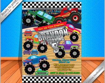 50% OFF SALE - Monster Truck Invitation - Monster Truck Birthday Invite - Monster Truck Party - Printable Invitation, Free thank you card!
