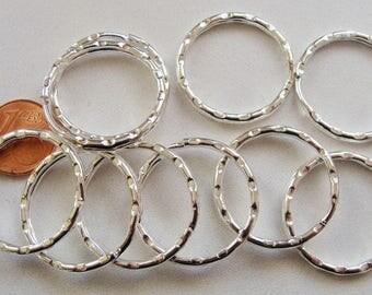 10 anneaux PORTE-CLES métal argenté clair 25mm DIY loisirs bijoux