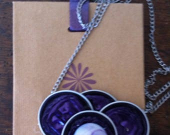 mother of Pearl button and recycled nespresso capsules necklace
