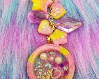 Kawaii Pink and Yellow Liquid-filled Princess Snowglobe Shaker Purse charm