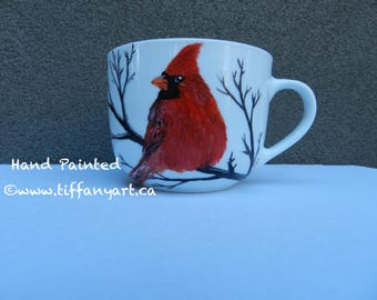 Cardinal bird, Hand painted mug, Bird mug, Personalized Mugs, Cardinal lover gift, Cardinal gift, Memorial gift,Cardinal mug,Cardinal Heaven