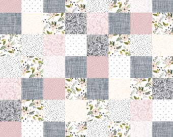 Premium Baby Girl Quilt- Baby Girl, Floral, Pink, Gray, Patchwork Quilt, Soft Minky Quilt